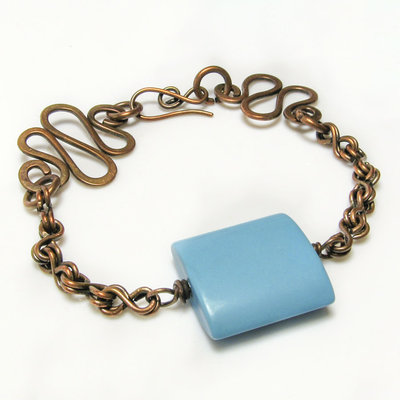 Bracciale con pietra blu azzurra, bracciale in rame - disponibile sulla richiesta - Blu stone bracelet III