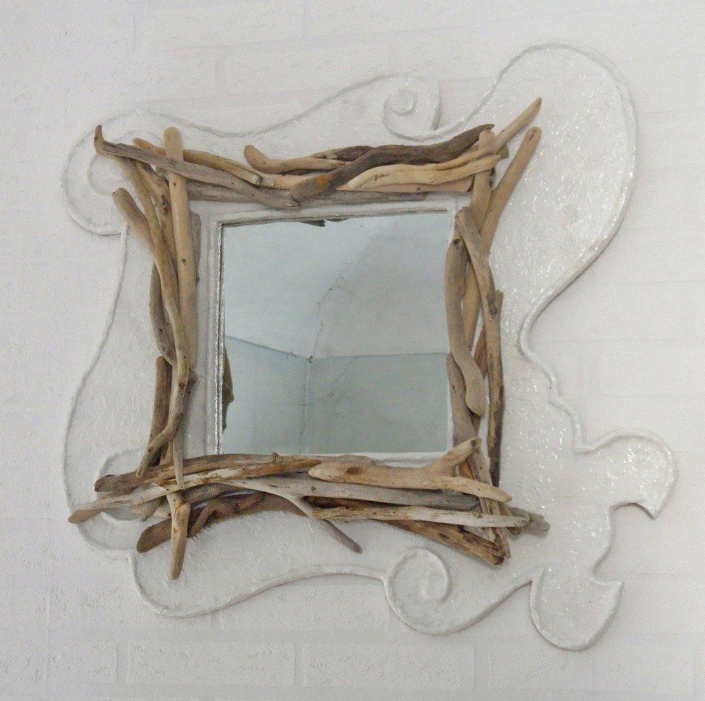 """Specchio """"ISABEL"""" con legni di mare fatto a mano"""