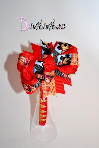 Cerchietto accessori bambina corona coroncina frontino Masha orso grosgrain ribbon bow hairband hairclips