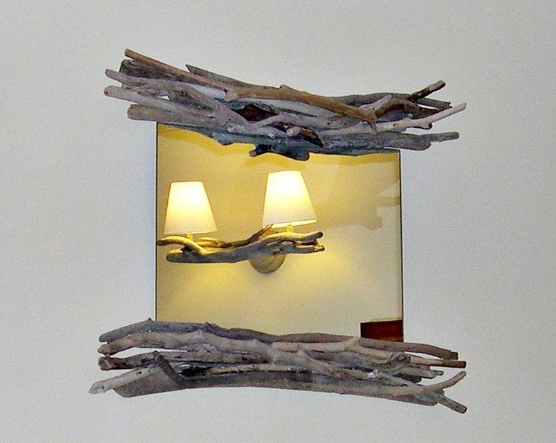 Specchio   NACKT con legni di mare