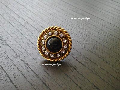 Anello con bottone gioiello vintage smalto nero e strass