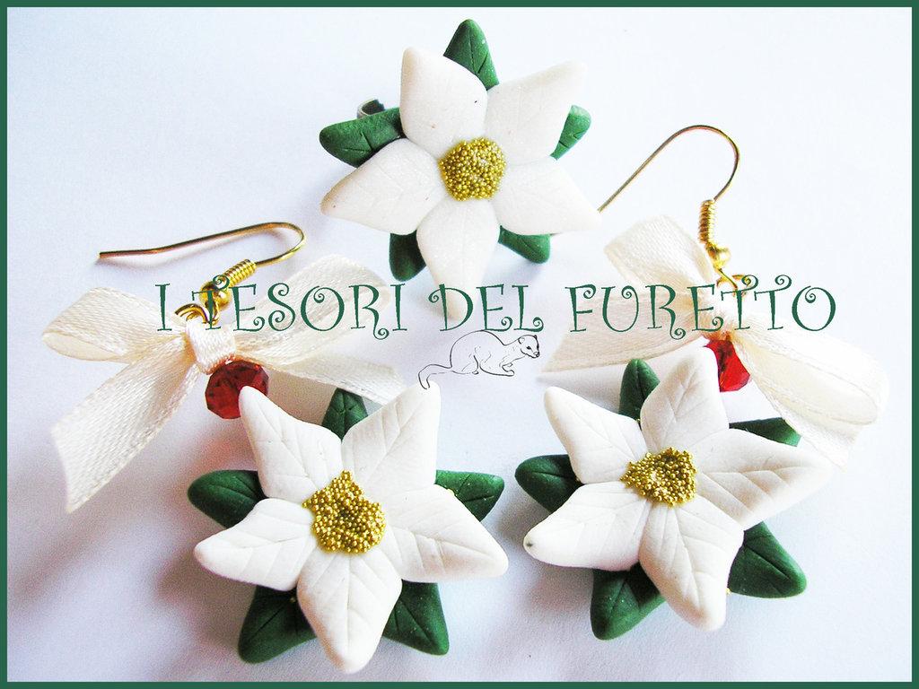 """Parure """"Stella di Natale bianca"""" orecchini e anello idea regalo fimo cernit bijoux natalizi"""