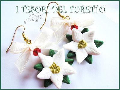 """Orecchini """"stella di Natale Bianca"""" fimo cernit kawaii bijoux natalizi"""