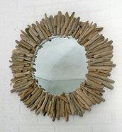 """Specchio """"GIOTTO"""" con legni di mare"""