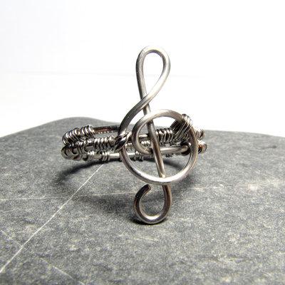 Anello in acciaio inossidabile, chiave di violino - Stainless steel treble clef ring VI