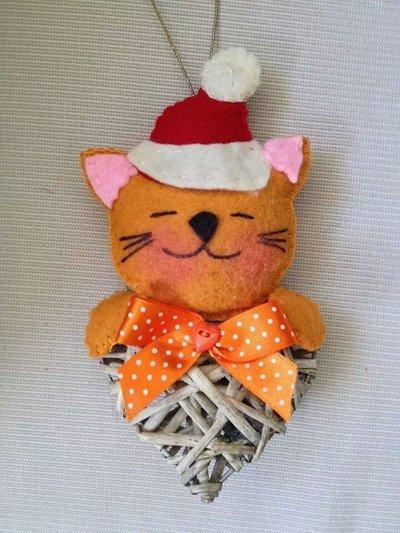 Natale - Gatto in feltro su cuore di vimini, addobbo per albero
