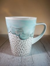Tazza PIOVE! in porcellana dipinta a mano - tazza da colazione o da the solidale in aiuto degli animali