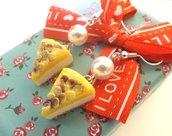 Orecchini Cheesecake al limone con glassa e perle!