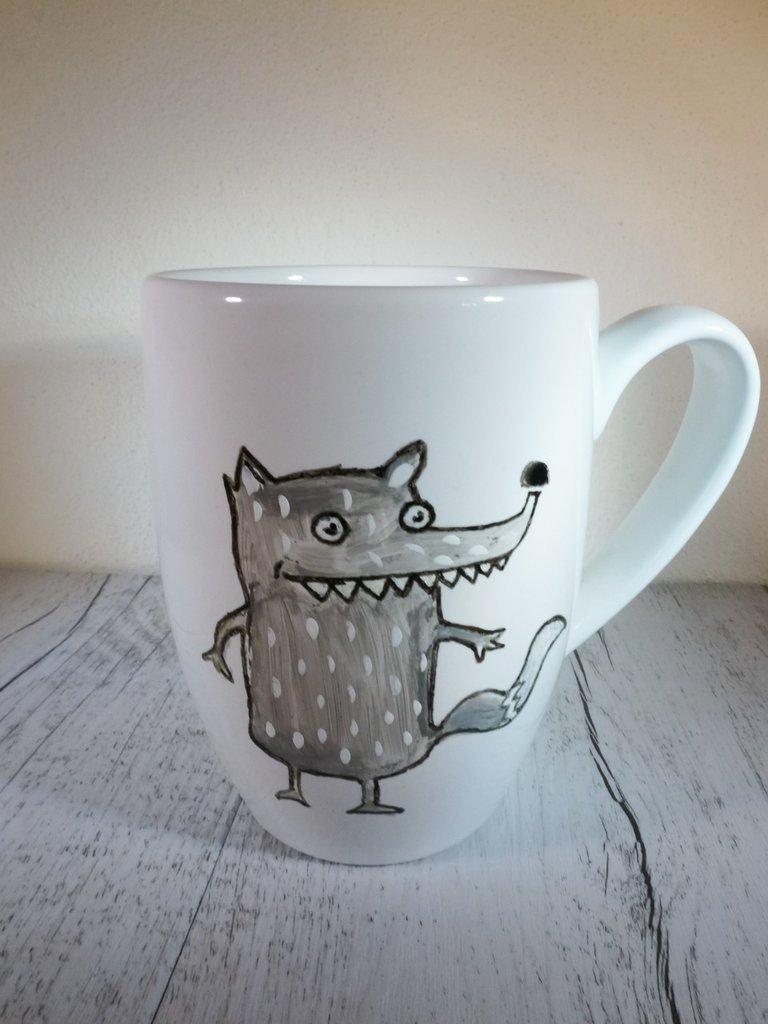 Tazza Lupo in porcellana dipinta a mano - tazza da colazione o da the solidale in aiuto degli animali