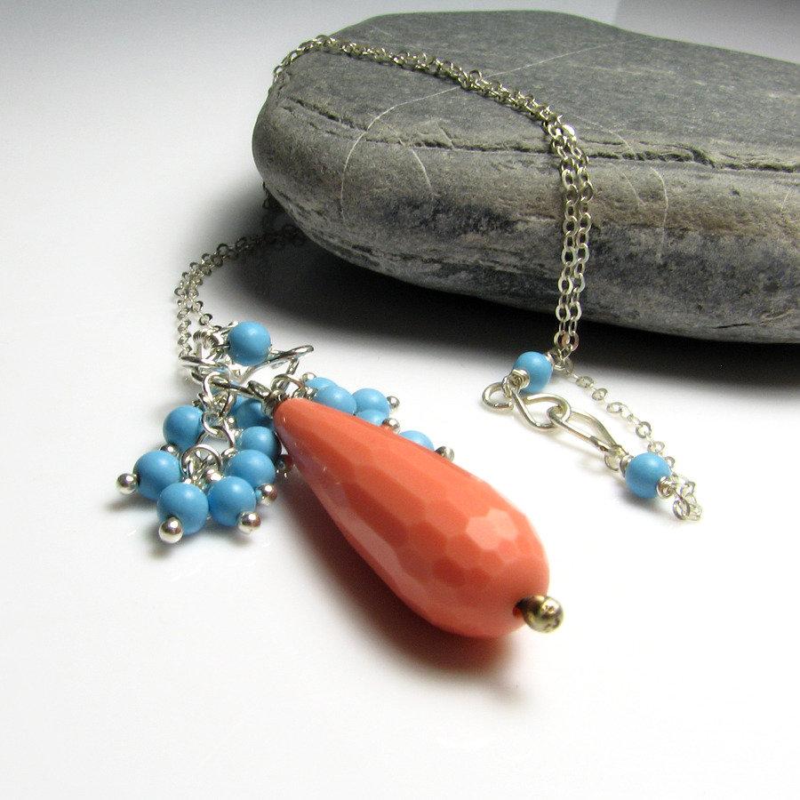 Collana in argento sterling, collana azzurra, collana bicolore - Orange Blue