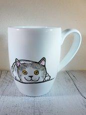 Tazza Gattino in porcellana dipinta a mano - tazza da colazione o da the solidale in aiuto degli animali