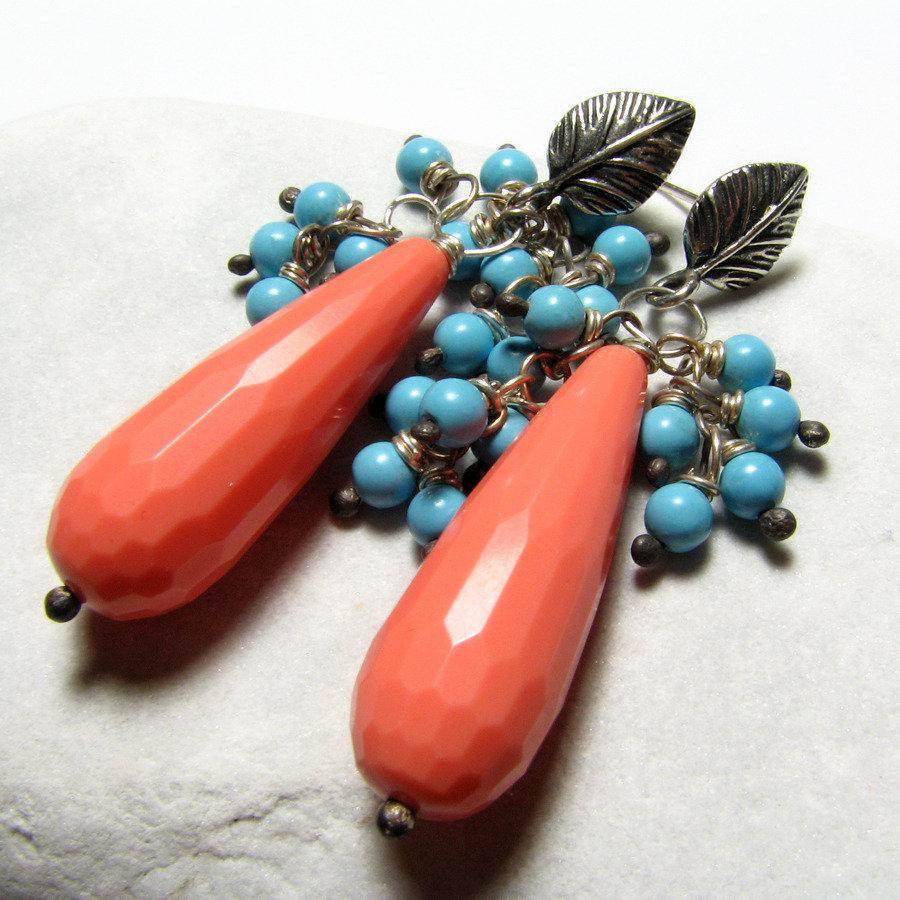 Orecchini in argento sterling, orecchini azzurri, orecchini bicolore. Orecchini grandi. Idea regalo.