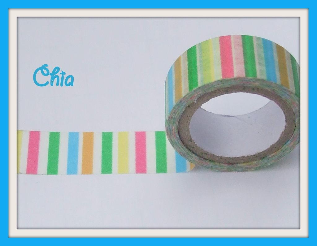 1 washi tape a righe multicolori 5 mt