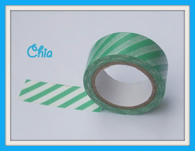 1 washi tape a righe verde bianco 5 mt
