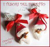 """Orecchini Clip """" Babbo Natale  """" Fimo cernit kawaii idea regalo bambina bijoux natalizi senza foro orecchie"""