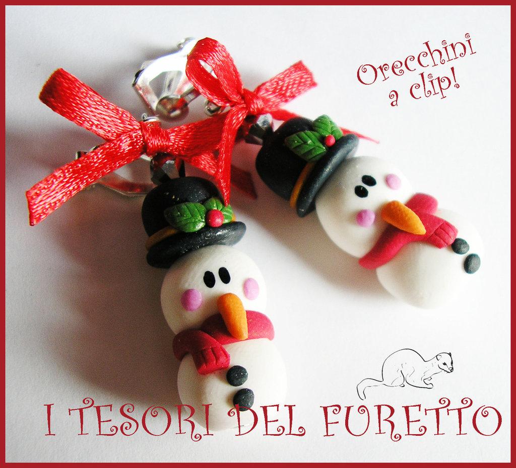 """Orecchini Clip """" Omini neve cappello Nero """" Fimo cernit kawaii idea regalo bambina bijoux natalizi senza foro orecchie"""