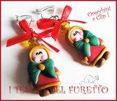 """Orecchini Clip """"  ESchimesi con cappotto rosso """" Fimo cernit kawaii idea regalo bambina bijoux natalizi senza foro orecchie"""