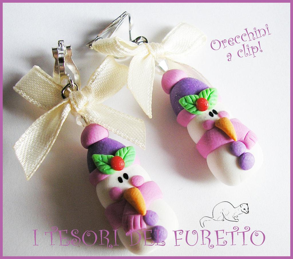 """Orecchini Clip """" Omini neve Lilla """" Fimo cernit kawaii idea regalo bambina bijoux natalizi senza foro orecchie"""