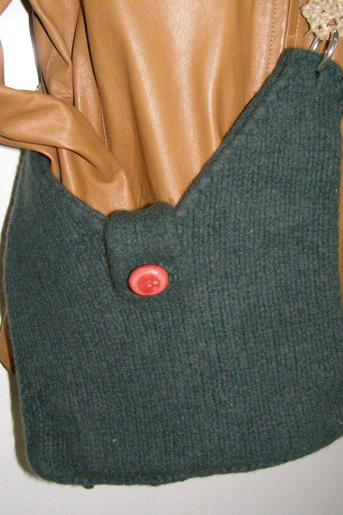 Borsa in lana infeltrita verde