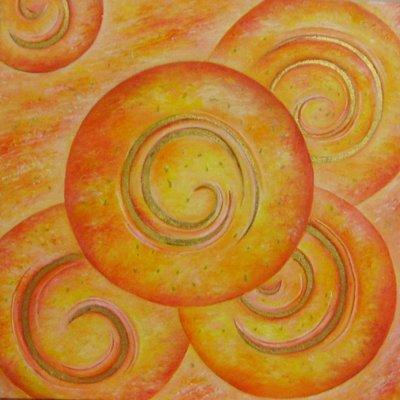 """""""L'universo"""" dipinto su tela con foglia d'oro"""