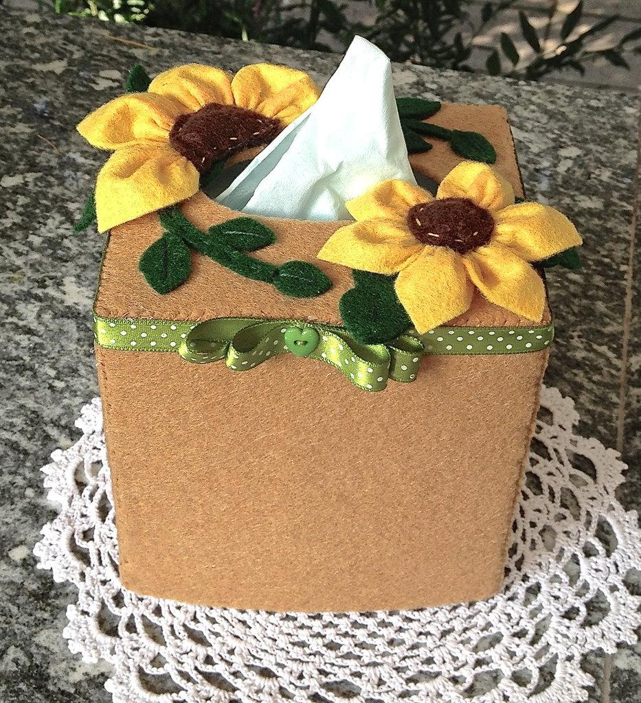 scatola in feltro per box porta fazzoletti quadrato