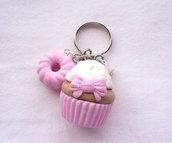 Portachiavi con cupcake e ciambella rosa pastello in fimo