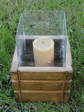 Portacandele in legno e vetro