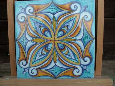 mattonella mandala ceramica deruta