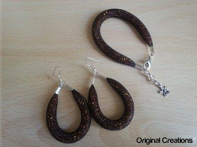 Bracciale+orecchini con rete tubolare