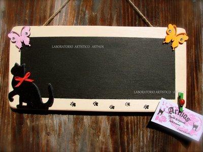 Lavagna in legno con gatto nero artigianale idea regalo