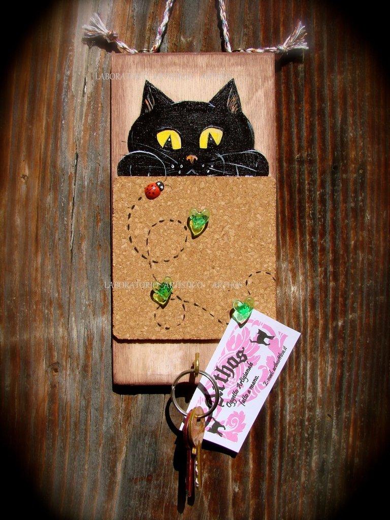 Portachiavi e memo in sughero gatto nero fatto e dipinto a mano