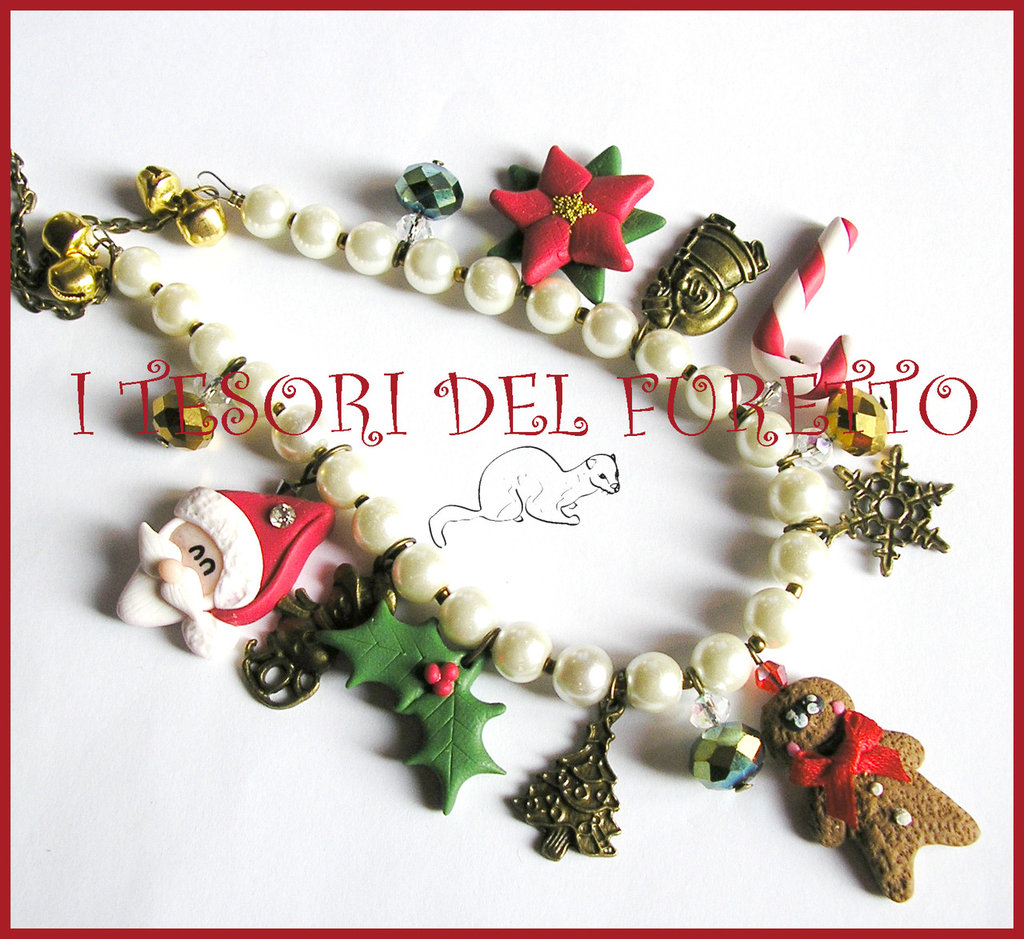 """Collana """" Natale multicharm perle avorio"""" pan di zenzero babbo Natale Poinsettia agrifoglio Fimo cernit kawaii idea regalo"""