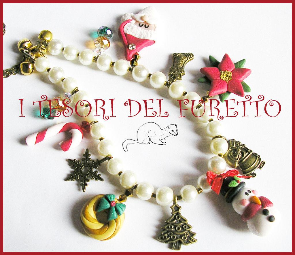 "Natale multicharm perle avorio"" Omino di neve Poinsettia agrifoglio Fimo cernit kawaii idea regalo"