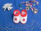 SCARPINE neonato fatte a mano in misto lana  uncinetto