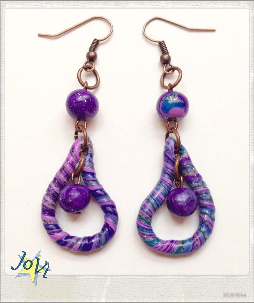 Orecchini lilla goccia artigianali, fatti a mano, originali, made JoVì