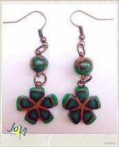 Orecchini artigianale verde natura, fatti a mano, creazione originale, madeJoVì