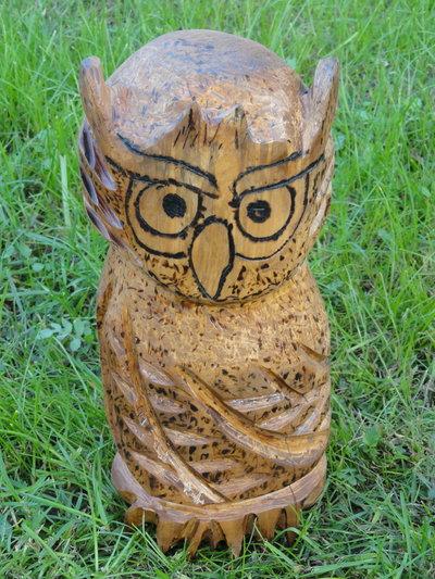 Gufo totem in legno