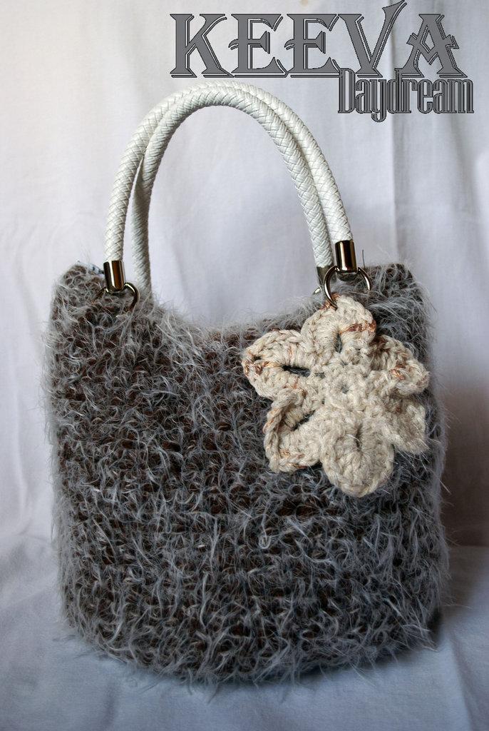 Borsa invernale in lana con fiore e fiocco di neve
