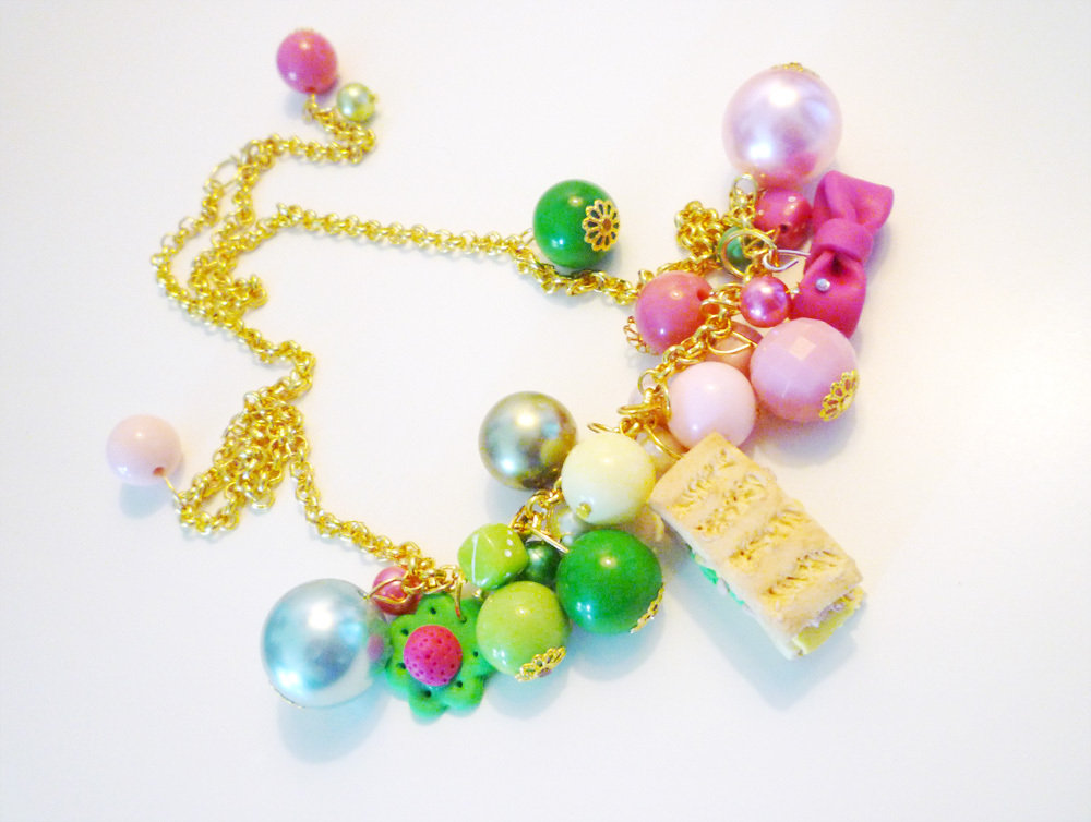 PANINO MON AMOUR ♥ CODICE 2 - Pink and green - gold necklace