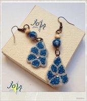 Orecchini pendenti mosaico con cristalli veri, artigianali, creazioni originali, made JoVì