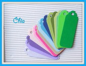10 tag fustellati in cartoncino 6,7x2,3cm per scrapbooking e cardmaking