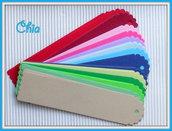 6 tag segnalibro fustellati in cartoncino 15x3,6cm