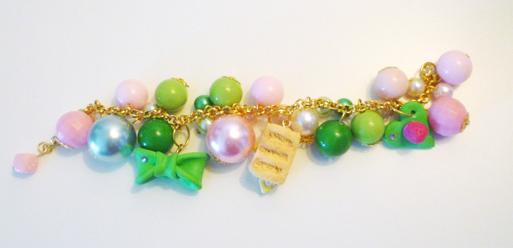 PANINO MON AMOUR ♥ CODICE 5 - Green and pink - gold bracelet