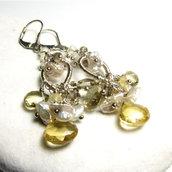 Orecchini in argento con pietre dure, orecchini lunghi  LATTE MIELE