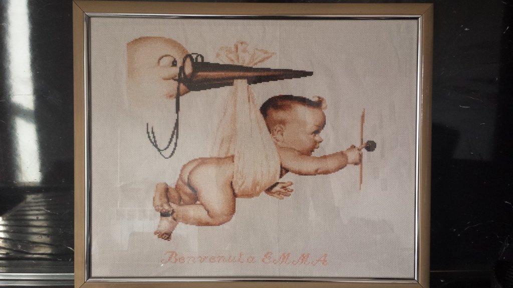 Quadro nascita ricamato bimbo cicogna