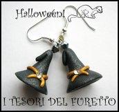 "Orecchini ""Cappelli da strega Neri"" halloween fimo cernit kawaii idea regalo"