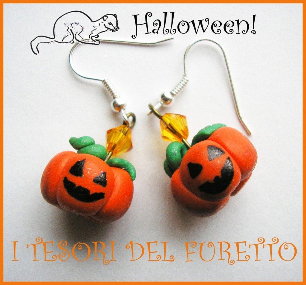 """Orecchini """"Zucche di Halloween"""" fimo cernit kawaii idea regalo strega"""