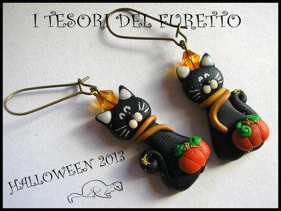 """Orecchini """"Gatti neri con zucca Halloween"""" Fimo cernit kawaii moda idea regalo"""