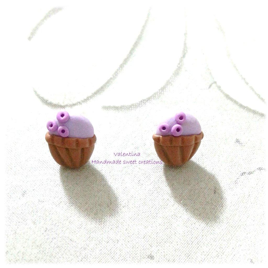 Mini orecchini a lobo muffin cupacke fimo