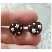 Mini orecchini a lobo biscotto pan di stelle fimo